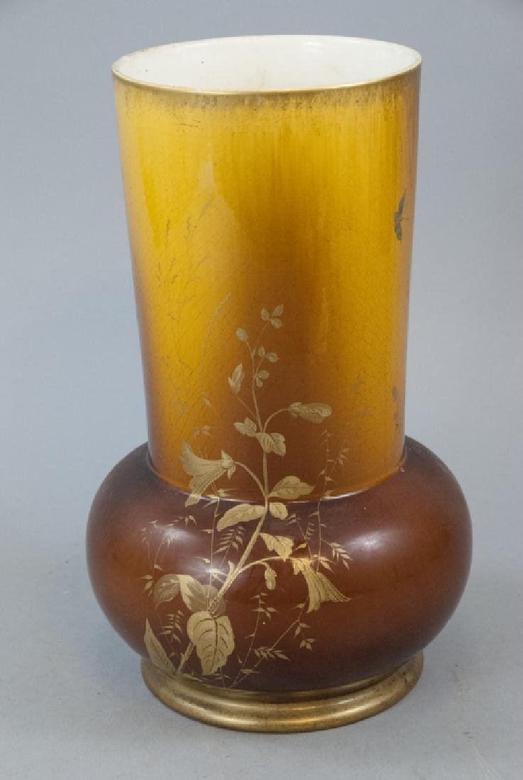Weller  Art Pottery Style Large Vase  Amber Gold