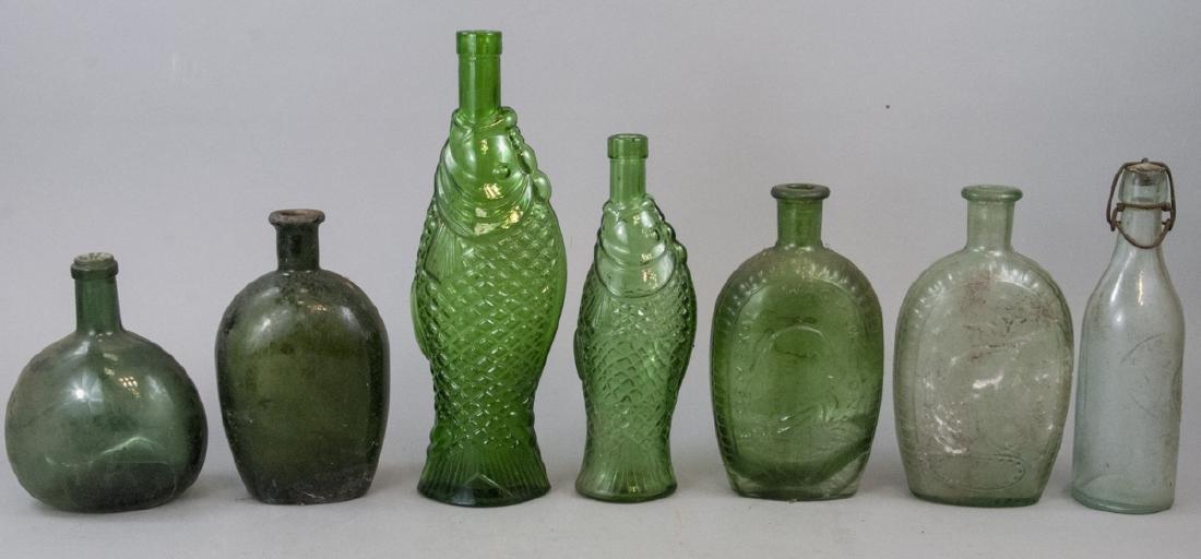 Assorted Lot Of Six Green Antique Bottles