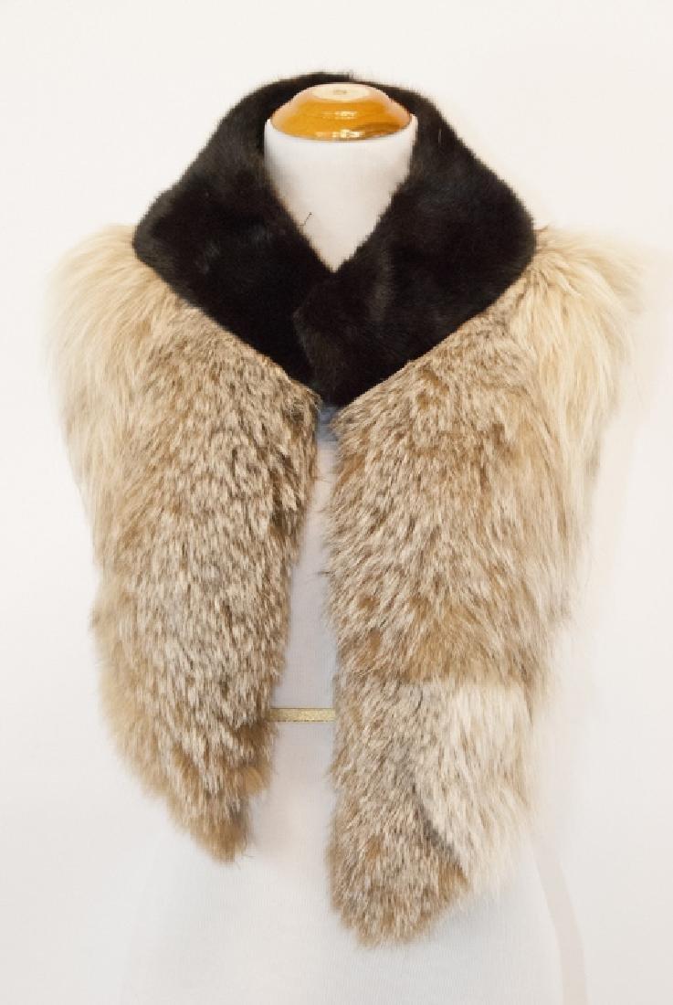Two Vintage Fur Scarves - Silver Fox & Mink