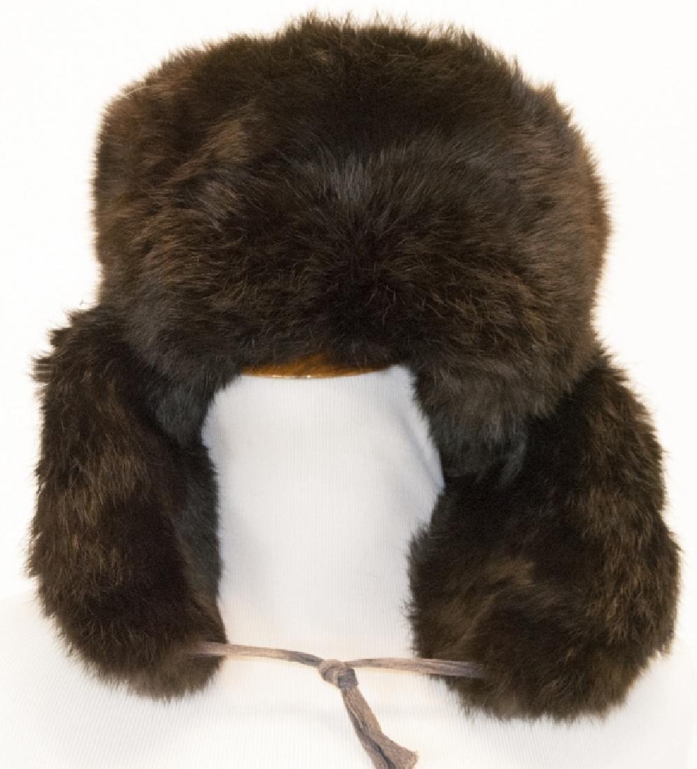 Vintage Dark Brown Mink Hat w Ear Flaps