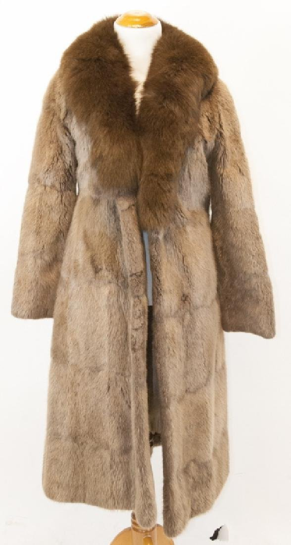 Vintage Sheared Fur Mink Collar Full Length Coat