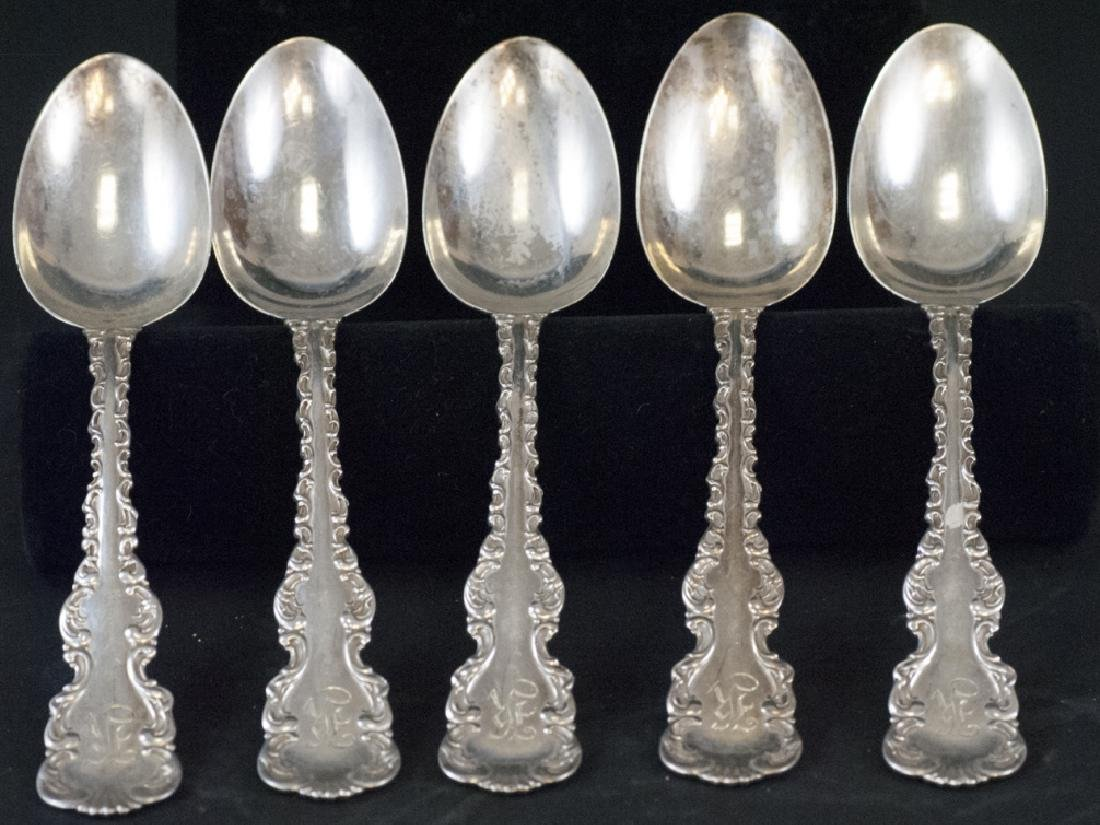 Five Antique Sterling Silver Serving Spoons