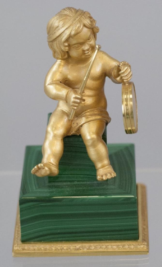 Italian Vermeil Sterling & Malachite Cherub Statue