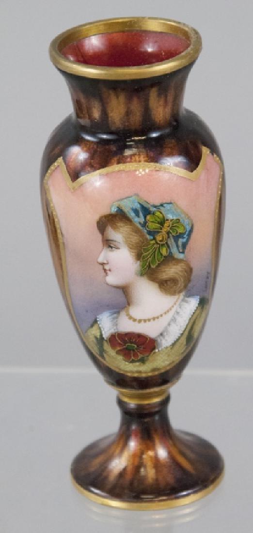 Antique Signed French Limoges Enamel Table Vase