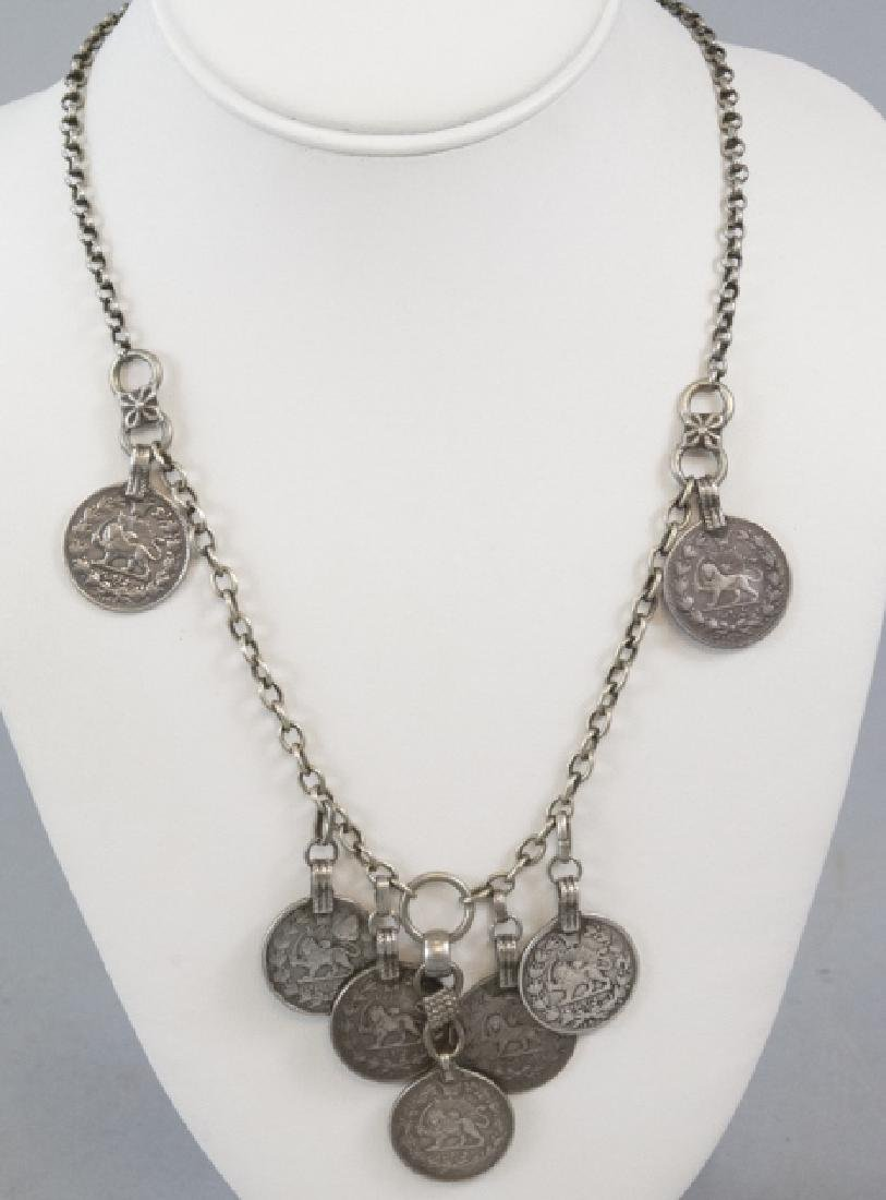Estate Sterling Silver Necklace w Arabic Coins