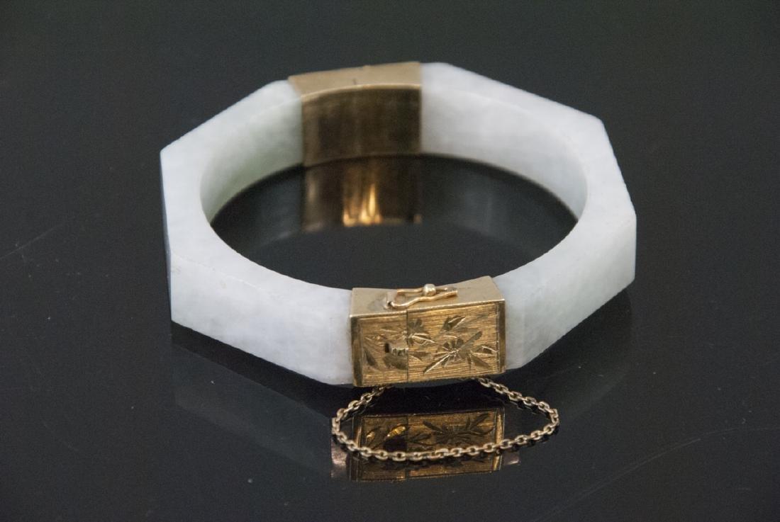 Antique Chinese Jadeite & 14kt Gold Bracelet
