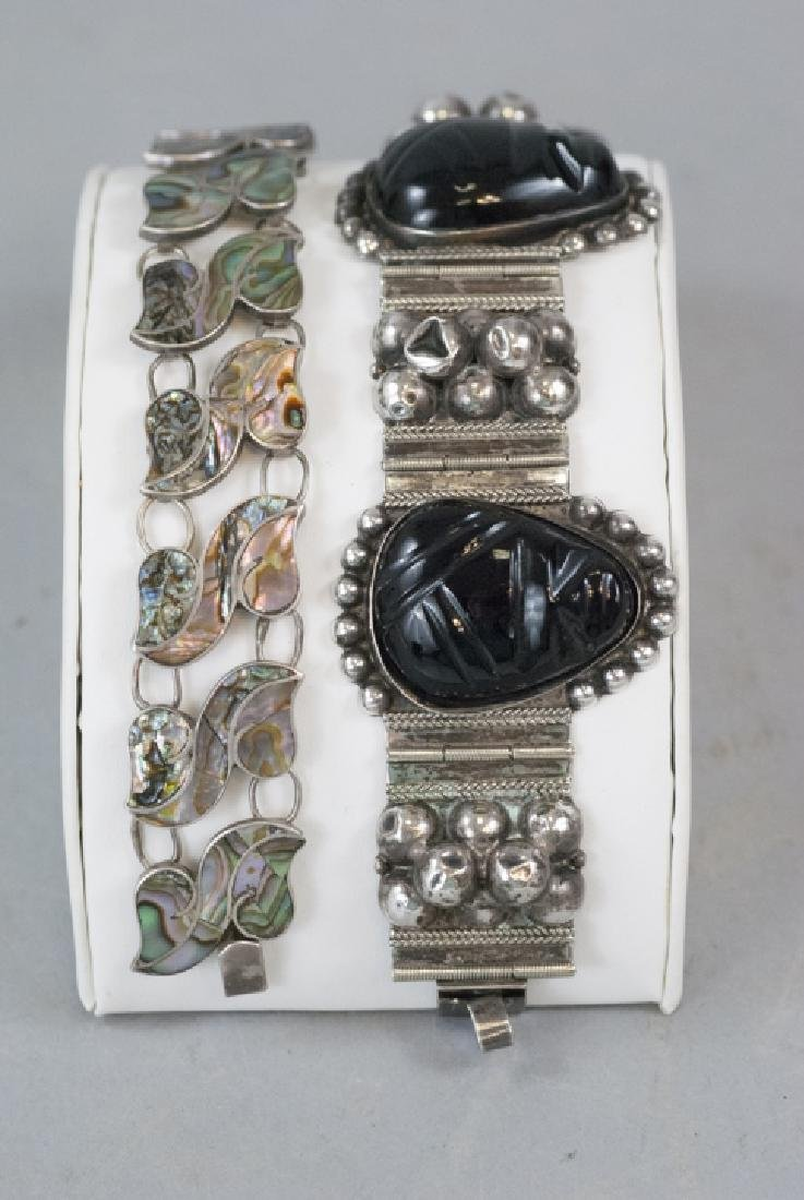 2 Vintage Mexican Sterling Silver Panel Bracelets