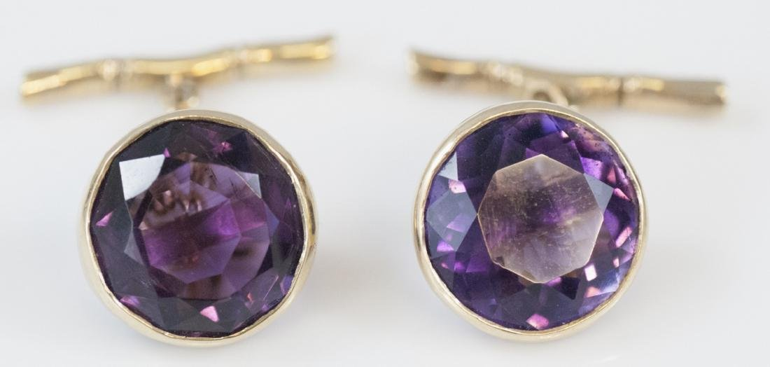 Estate 14k Gold Amethyst Figural Bamboo Cuff Links