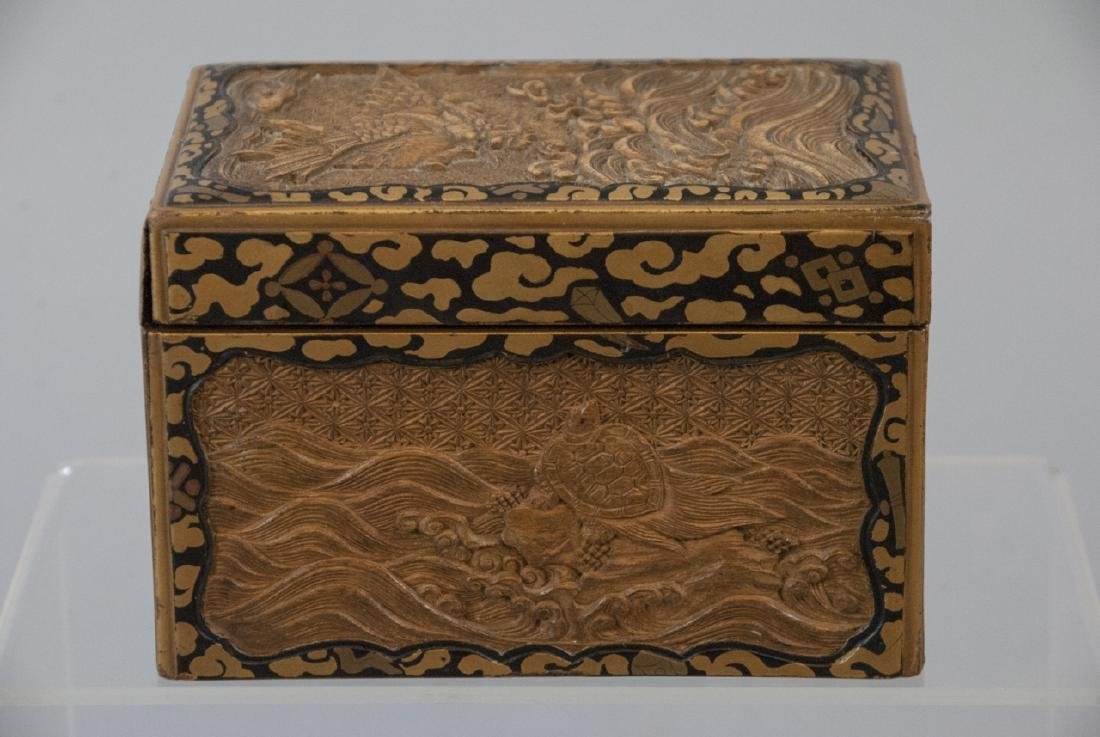 Antique Japanese Sandal Wood & Lacquer Box
