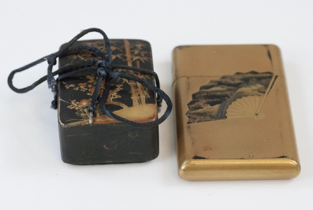 Antique Japanese Gilt & Lacquer Box & Card Case