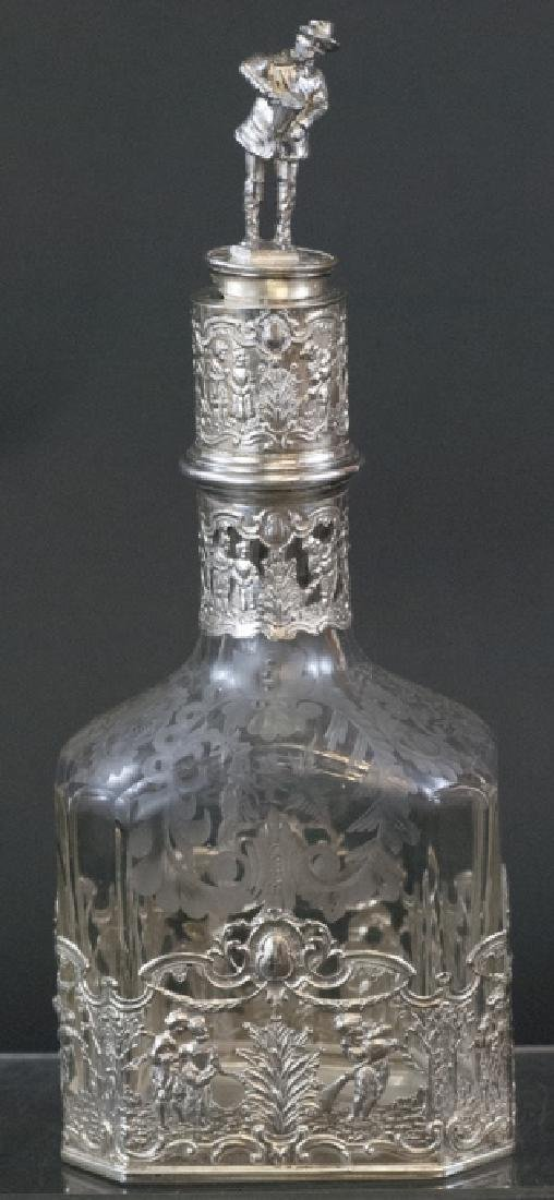 Antique Augsburg 800 Silver Glass Decanter Bottle