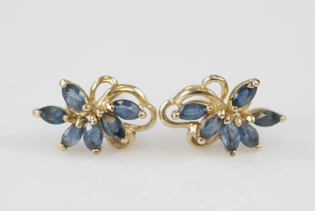 Estate 14k Yellow Gold & Marquis Sapphire Earrings