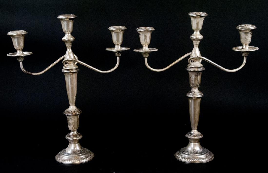 Pair of Sterling Silver Three Arm Candelabras