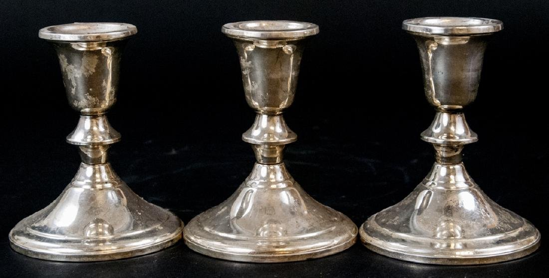Three Vintage Sterling Silver Candlesticks