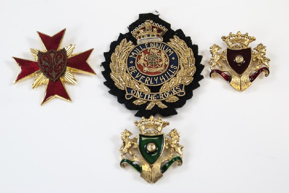 Four Costume Jewelry Badges / Shield Medals
