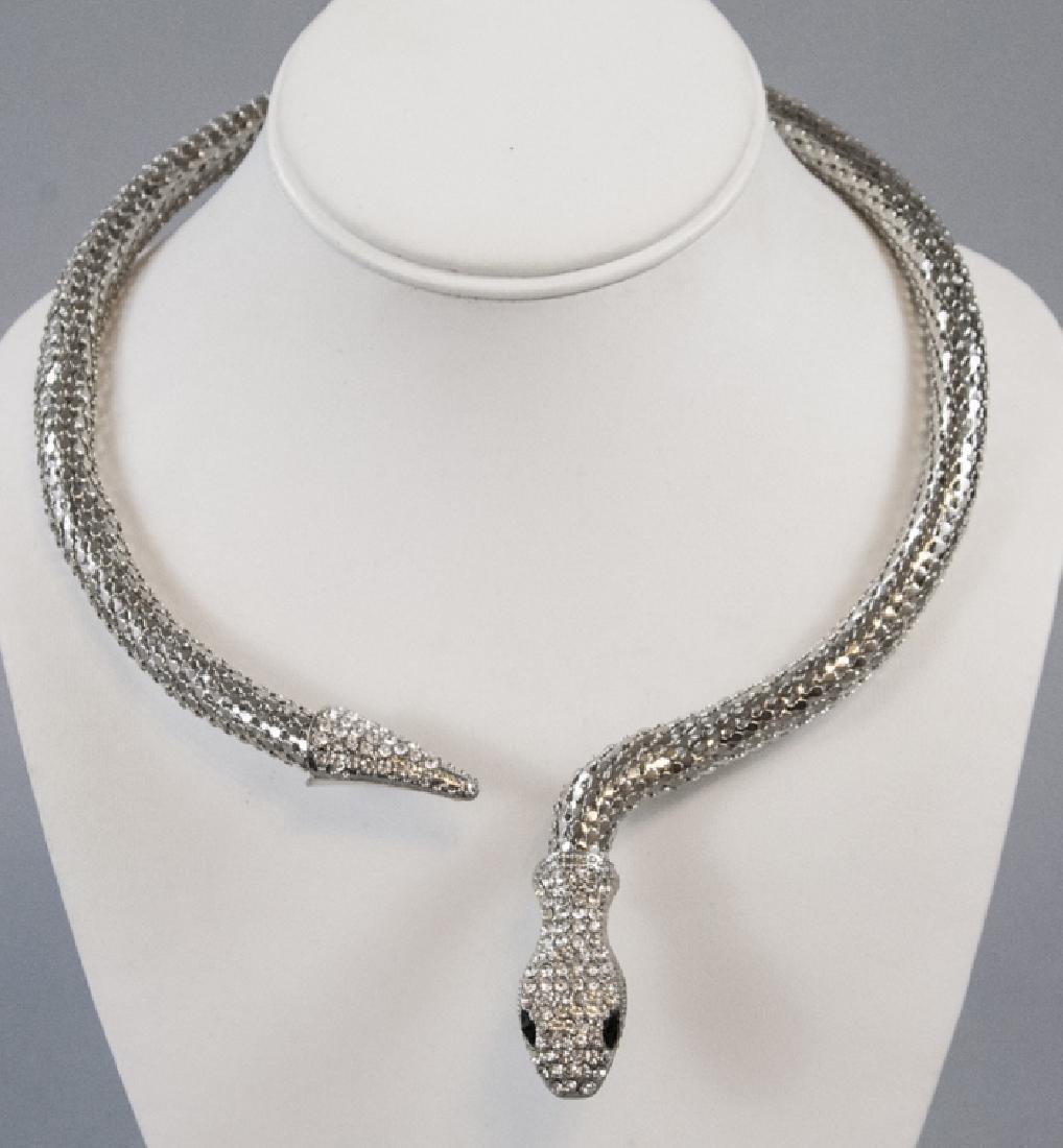 Vintage Mesh Metal & Rhinestone Snake Necklace