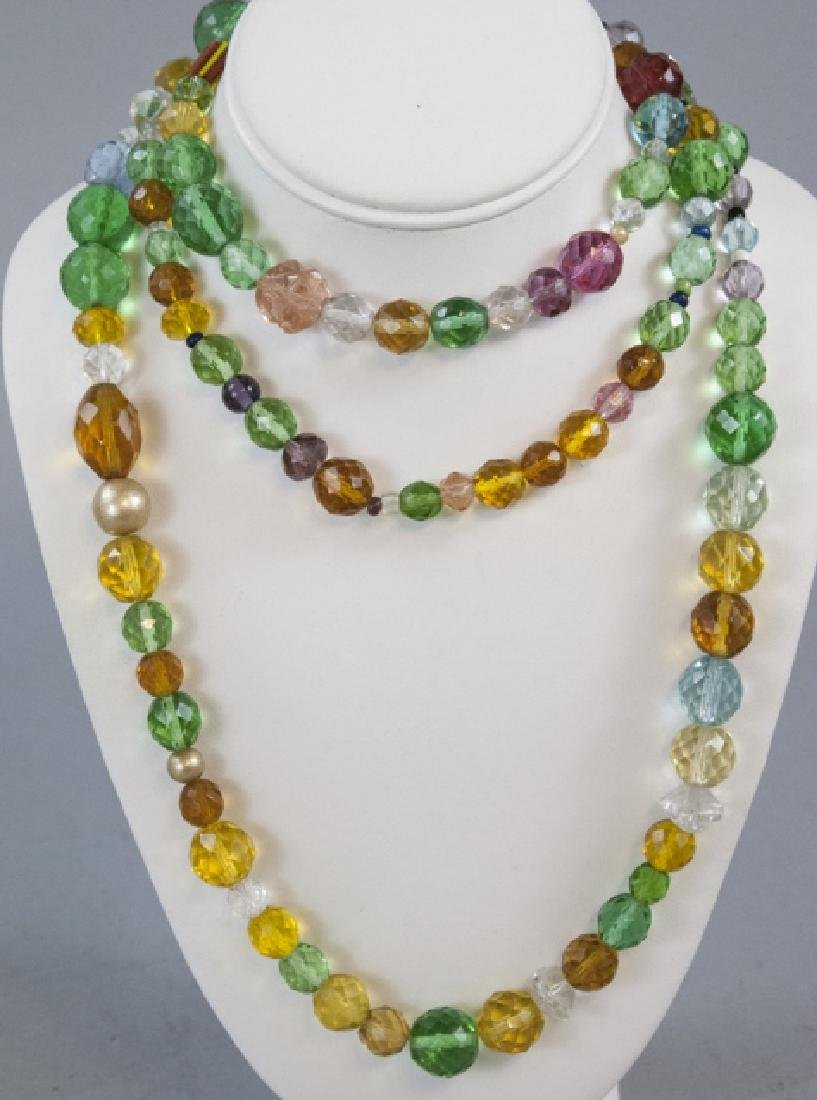 Antique Flapper Necklace Rock Crystal Czech Glass