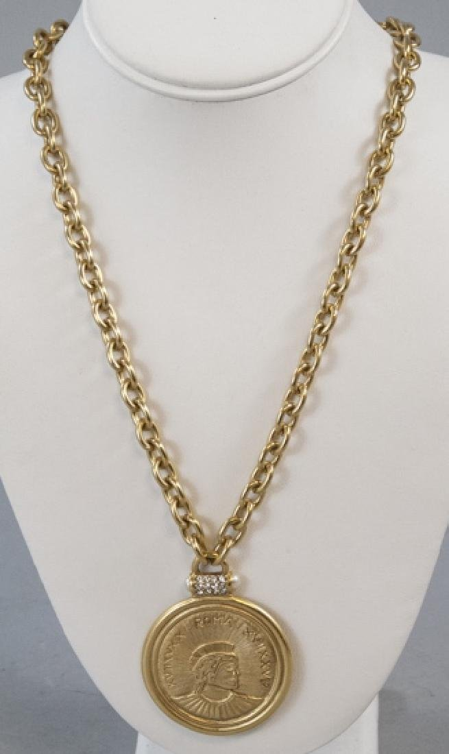 Vintage Gilt Metal Rhinestone & Coin Necklace