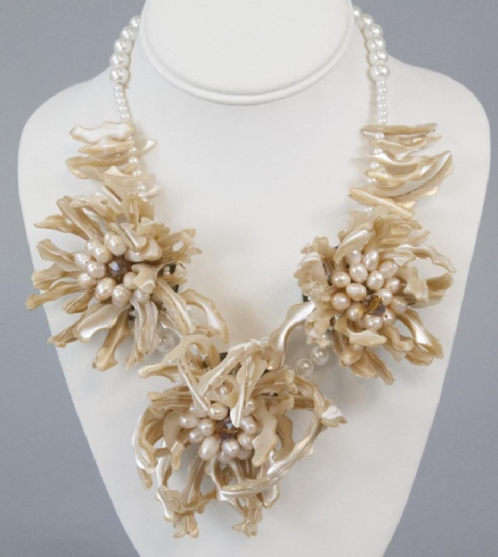 Vintage Faux Pearl, Rhinestone & Shell Necklace