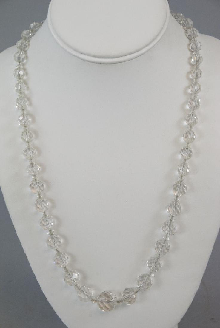 Antique Rock Crystal Necklace on Sterling Chain