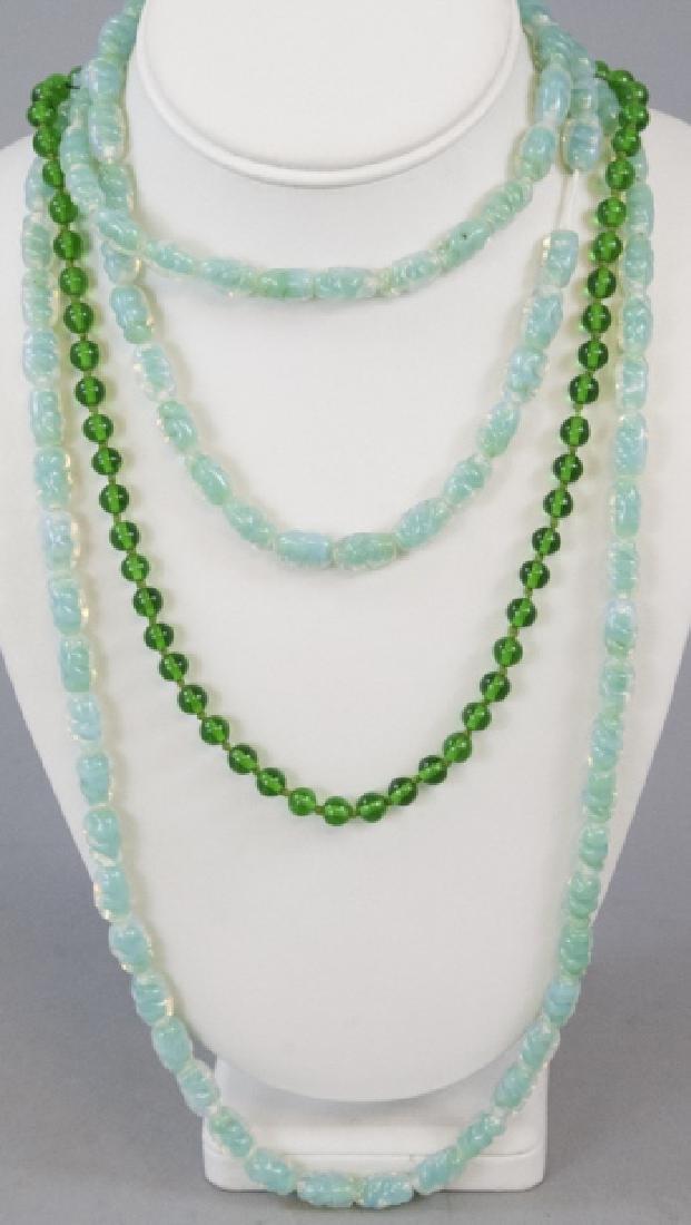 Antique Opaline Glass & Art Glass Necklace Strands