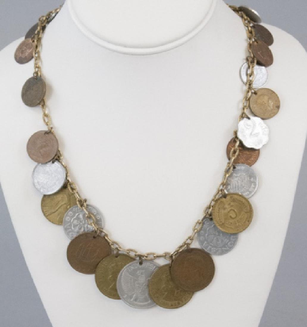Vintage Necklace w Coin Collection Charms