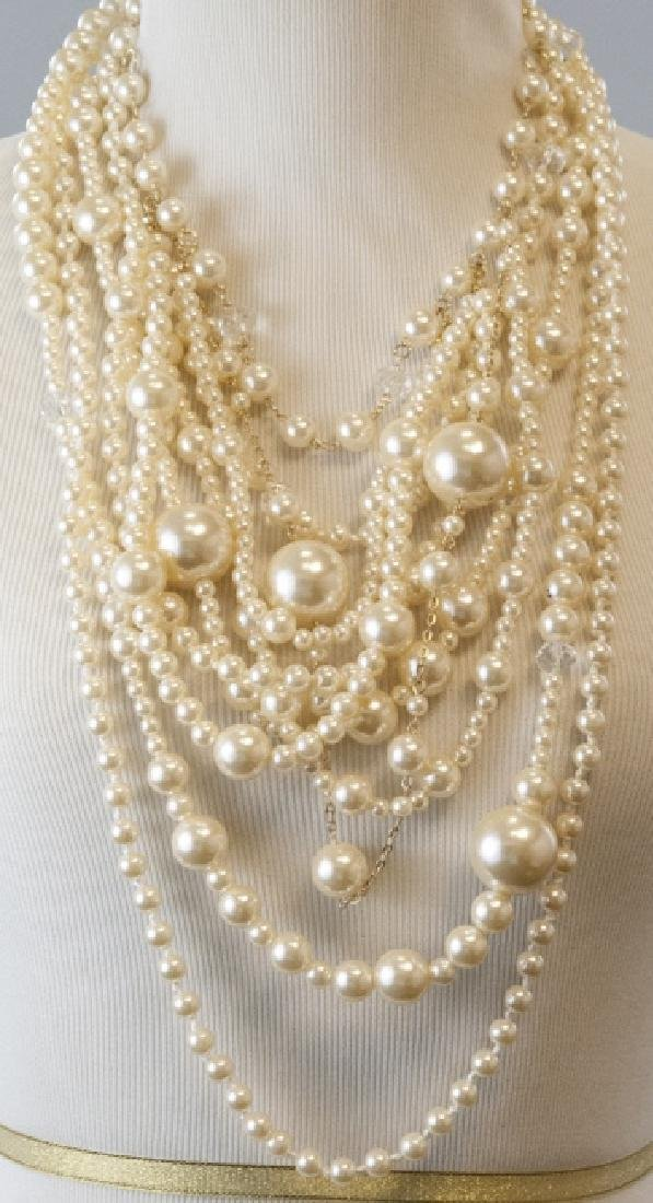 Vintage Multi Strand Faux Pearl Statement Necklace