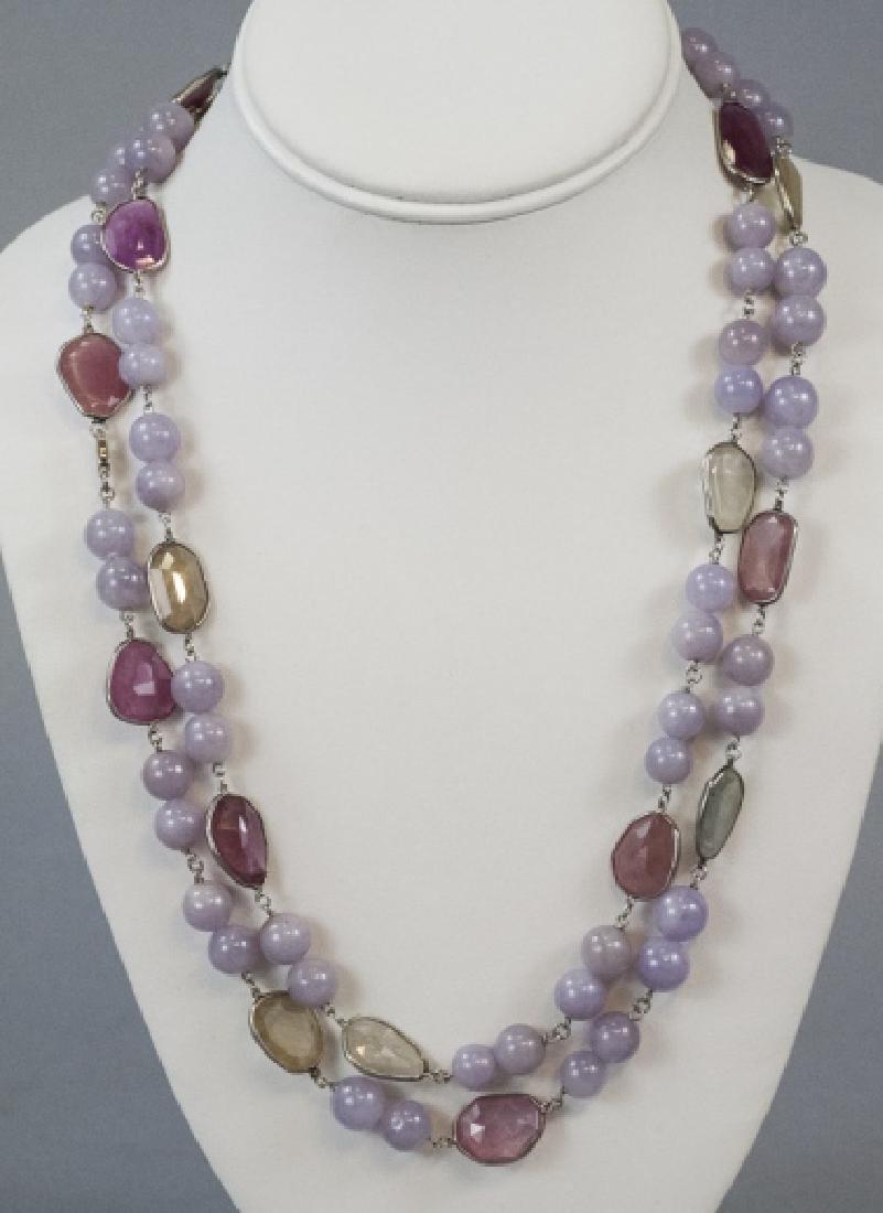 Estate Lavender Jade & Sapphire Handmade Necklace