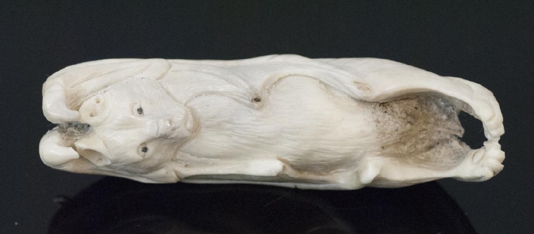 Hand Carved Bone or Horn Bat Netsuke or Necklace