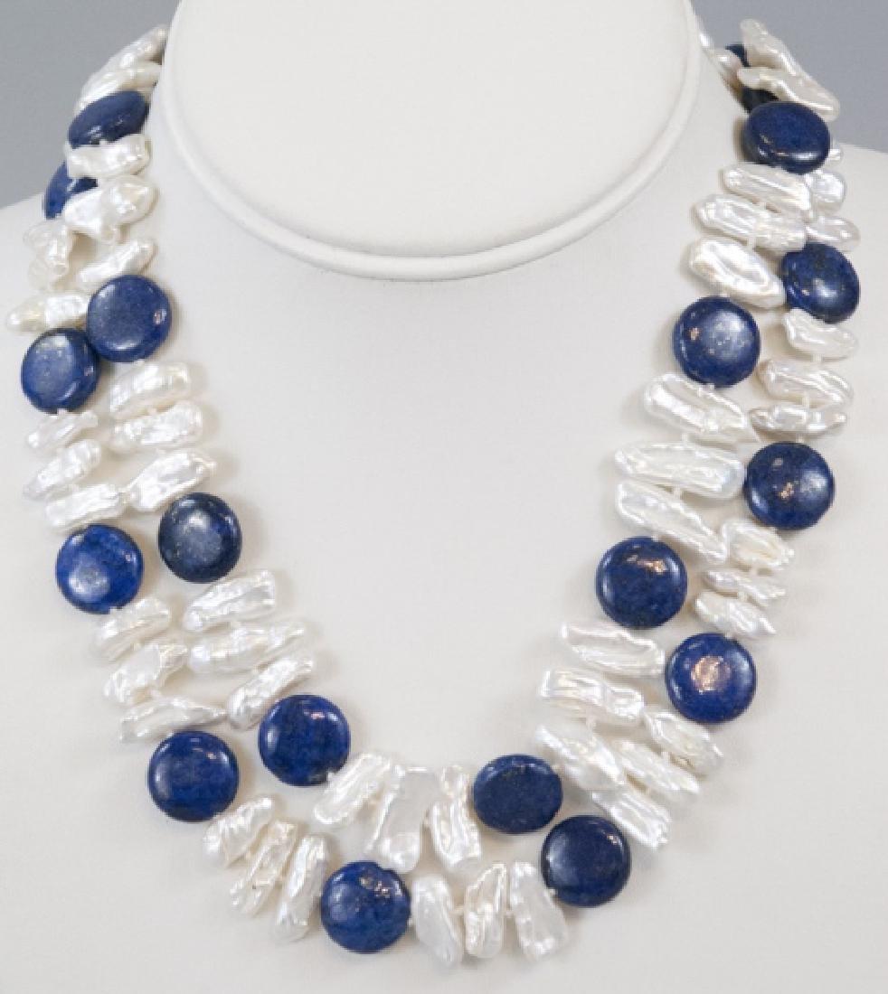 Pair of Lapis Lazuli & Oblong Pearl Necklaces