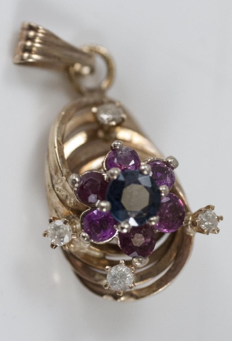 14kt Rose Gold Pendant w Ruby Sapphire Diamond