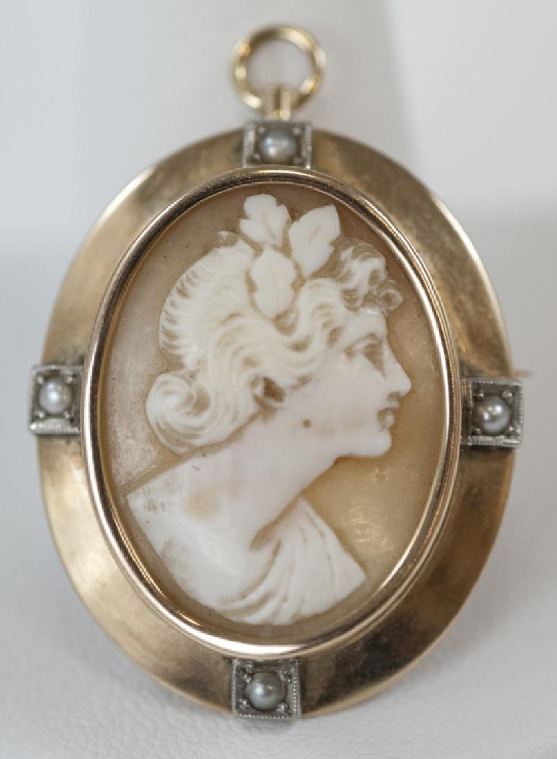 Antique 14kt Shell Cameo Pin / Pendent