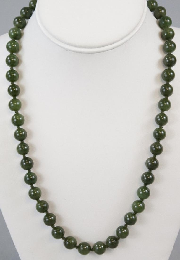 Vintage Hand Knotted Green Jade Necklace Strand