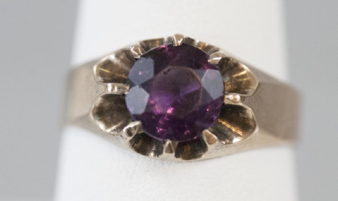 Antique Belcher Set Amethyst 14kt Rose Gold Ring
