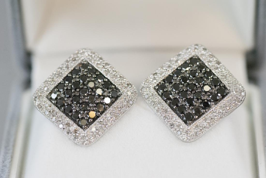 Pair White Gold Diamond & Black Diamond Earrings