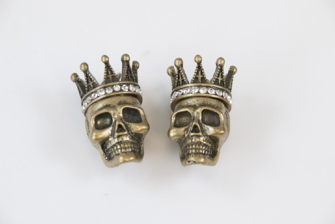 Pair of Rhinestone Skulls w Crowns Pendants
