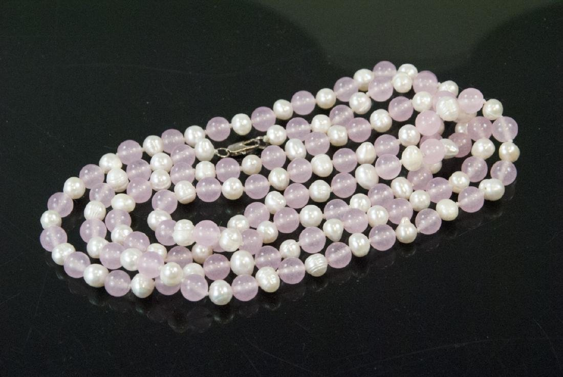 Rose Quartz & Baroque Pearl Hand Knotted Necklace