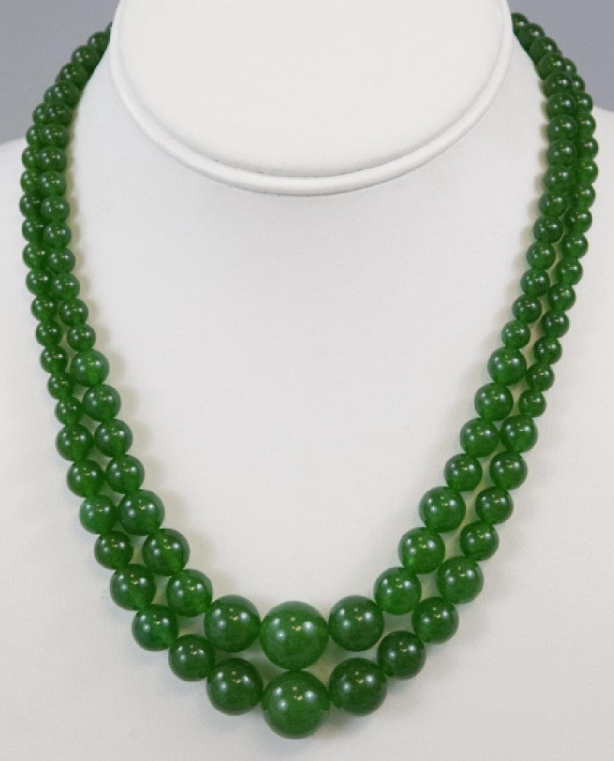 Pair Chinese Green Jade Graduated Bead Necklaces