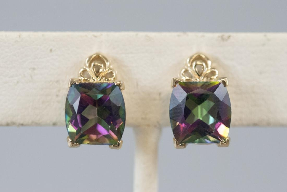 Pair of Gold & Cushion Cut Mystic Topaz Earrings