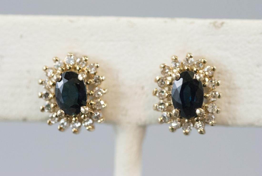 Pair of Yellow Gold Diamond & Sapphire Earrings