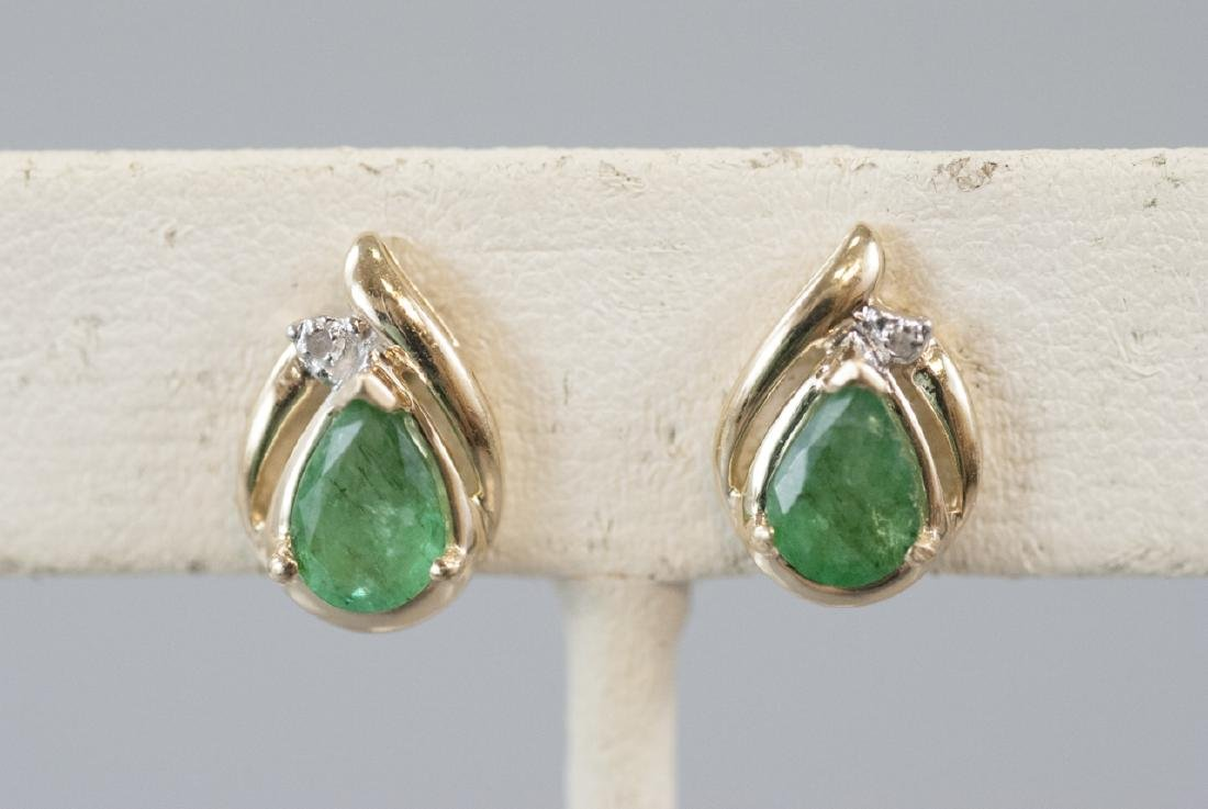 Pair 14kt Yellow Gold Emerald & Diamond Earrings