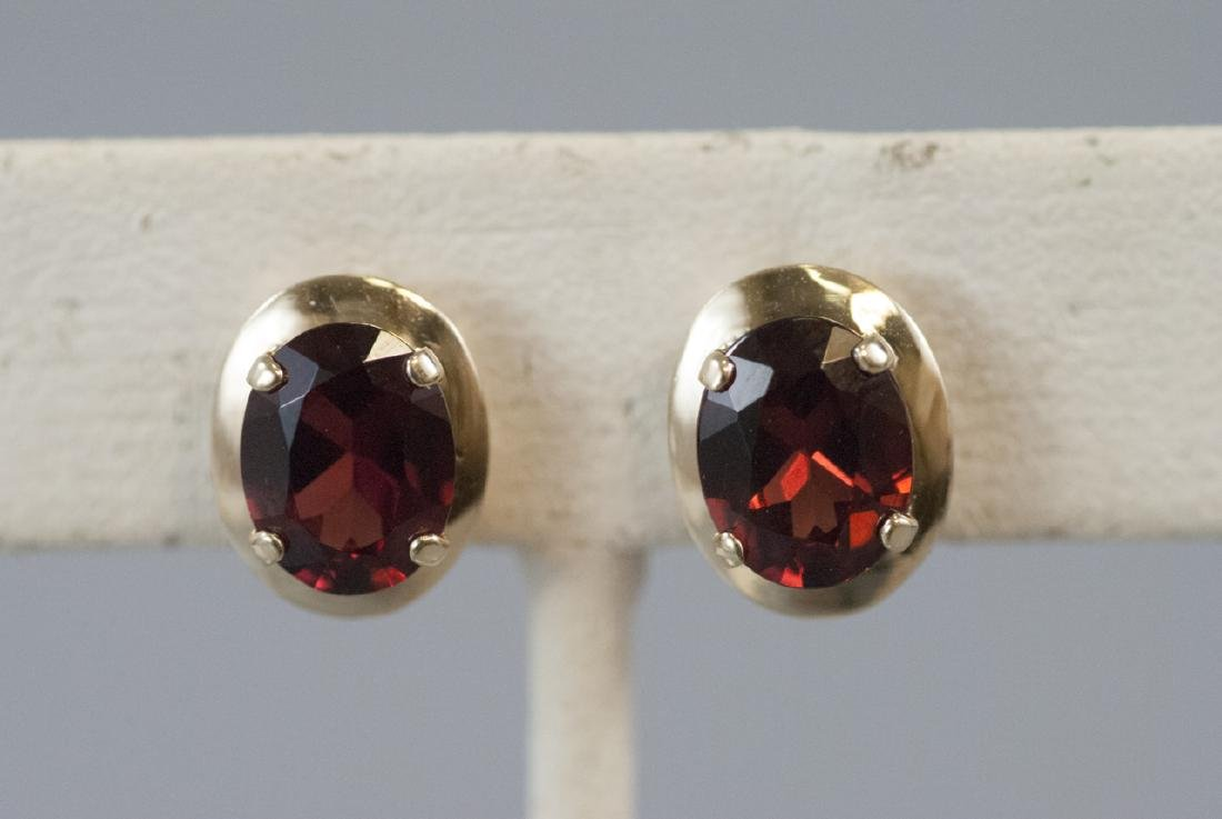 Pair 14kt Yellow Gold Oval Cut Garnet Earrings