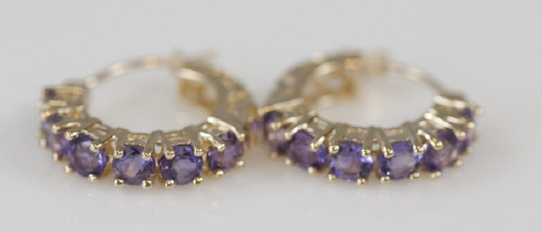 Pair of 14kt Yellow Gold & Vivid Amethyst Earrings