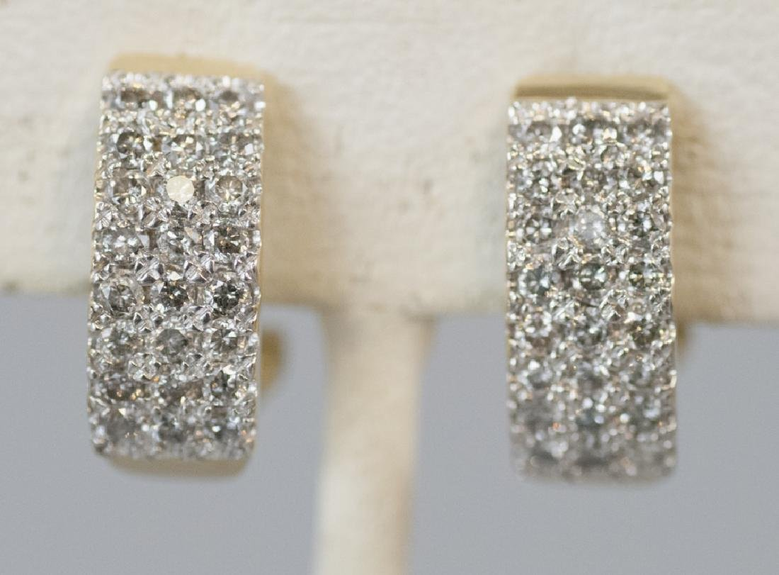 Pair 14kt Yellow Gold & Pave Set Diamond Earrings