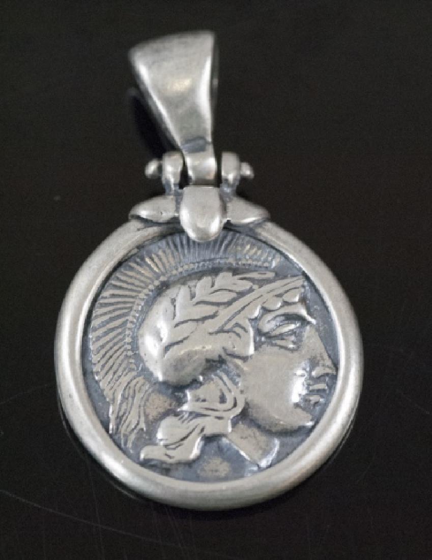 Estate Sterling Greco Roman Style Coin Pendant