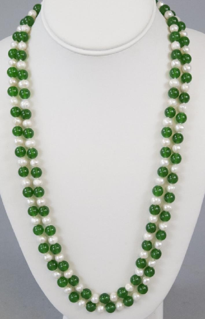 Green Jade & Baroque Pearl Hand Knotted Necklace