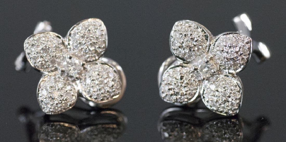 Pair 14k White Gold & Pave Diamond Flower Earrings