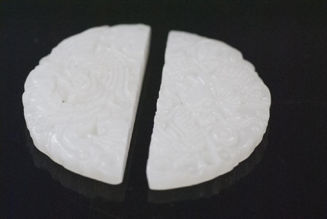 Pair of Chinese Jade or Hardstone Carved Pendants