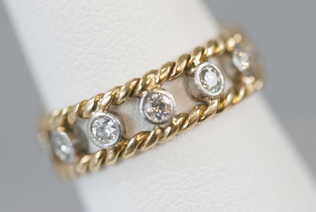 Estate 14kt Yellow & White Gold Diamond Band Ring