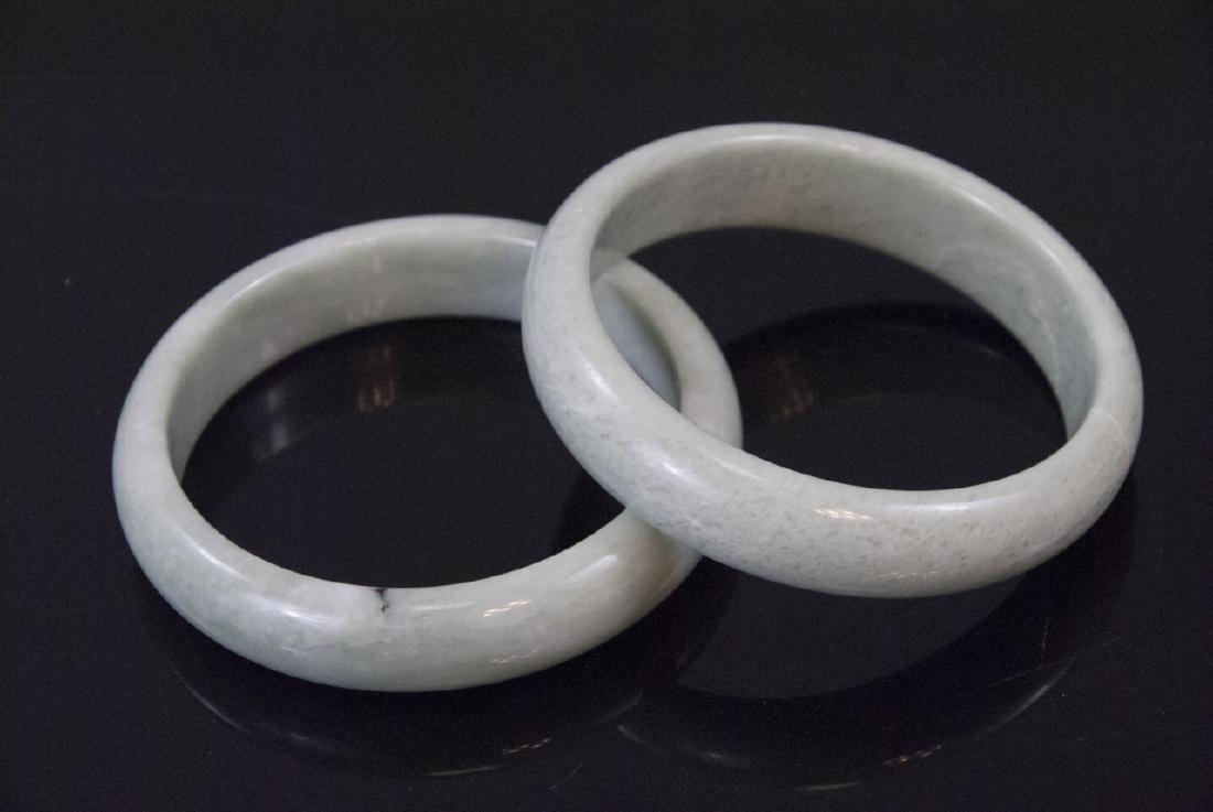 Pair of Chinese Jade or Hardstone Bangle Bracelets